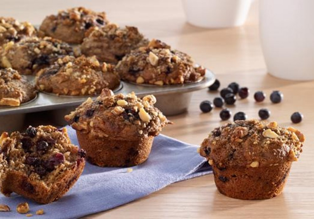 Blueberry and Walnut Bran Muffins